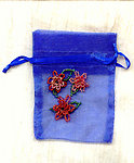Sheer Iridescent Royal Blue Gift Bag with Beaded Floral Motif