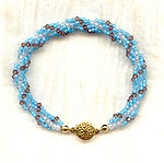 Spiral Bracelet: Frost White, Turquoise, and Swarovski Crystals