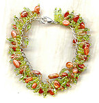 RAINTREE FRINGE BRACELET: Peridot, Sunstone and Sterling Silver