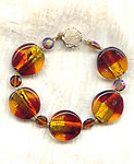 Chunky Vintage Amber and Topaz Lampwork Glass Hand Beaded Bracelet
