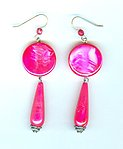 Vintage Glowing Marbled Fuchsia Acrylic Earrings
