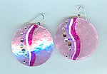 Orchid, Silver and Rhinestone Swirls on Lavender Capiz Shell Earrings