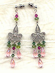 Sterling Swarovski Crystals Faux Tourmaline Chandelier Earrings
