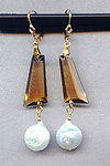 Vintage Deco Cut Colorado Topaz Glass and White Coin Pearl Earrings