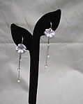 Floral Hoop Fringe Earrings: Vintage Violet Flowers Sterling Silver