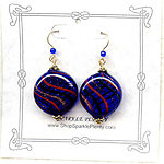 Cobalt Blue Murano Glass Disc Earrings