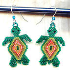 Hand Beaded Colourful Turtle Earrings