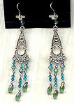 Artisan Misty Green and Teal Swarovski Crystal Chandelier Earrings