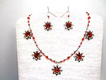 Hand Beaded Necklace and Earrings Set Vintage Flame Swarovski Crystals