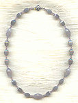 Misty Mauve Fashion Necklace Faceted Frosted Agate and Crystal Beads