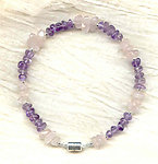 SMALL PET COLLAR: Amethyst and Rose Quartz Pebbles with Magnetic Clasp