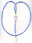 BLUE STAR: Royal Blue Beaded Lanyard Necklace ID Badge Holder Keyring