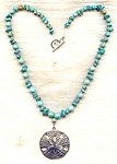 Man's Turquoise Necklace with Silver Clad Pewter Sand Dollar Pendant