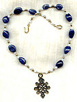 Turtle Totem Pendant and Polished Sodalite Nuggets Men's Necklace