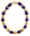 CLOTHILDE CHOKER NECKLACE: Large Amethyst Nuggets and Golden Beads