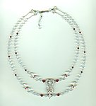 Siam Ruby and Clear Crystal Victorian Style Swag Necklace