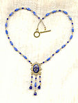 Vintage Cobalt Blue Enamel Fringed Pendant and Glass Beads