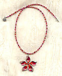 Tropical Bloom Fuchsia and Coral Enameled Pendant Necklace