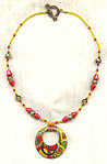 WILD CHILD NECKLACE: Handpainted Wood Pendant and Vintage Glass Beads