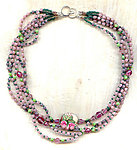 Handcrafted Collar Necklace: Unique Pastel Floral Focal