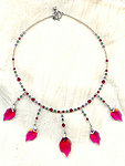 Swarovski Ruby Crystal Leaf 5-Drop Necklace