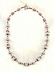 Scarlet Enameled Sterling Silver and Clear Crystal Long Necklace