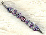 Hand Beaded Bracelet Amethyst Glass Woven Sterling Silver Clasp