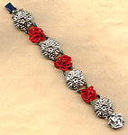 RED ROSES BRACELET: Silvery Floral Stampings and Seed Bead Pompoms