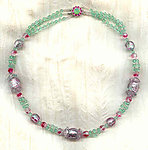 Rose and Pale Green Foiled Haskell Beads One of a Kind Necklace