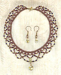 Burbundy Needlelace Collar and Earrings Set, Crystal Heart Pendants