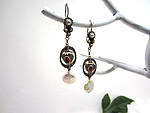 Long Artisan Sterling Silver, Freshwater Pearl and Garnet Earrings