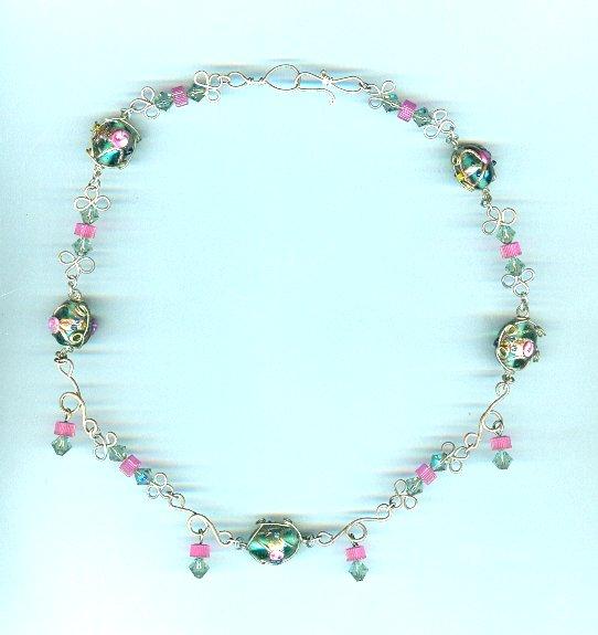 Silver Wire Lampwork, Vintage Crystals Bead Necklace