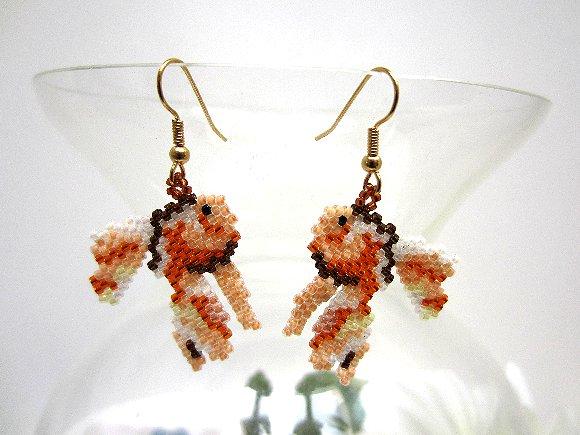 Beaded earrings bead woven lucky goldfish koi fish for Koi fish beads