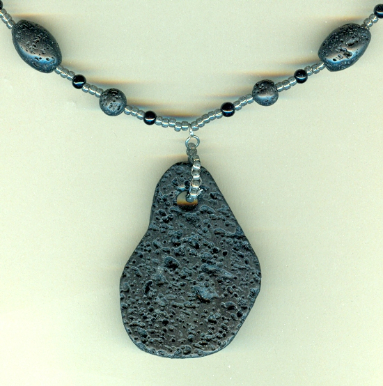 Black freeform lava rock pendant mans necklace loading zoom aloadofball Gallery