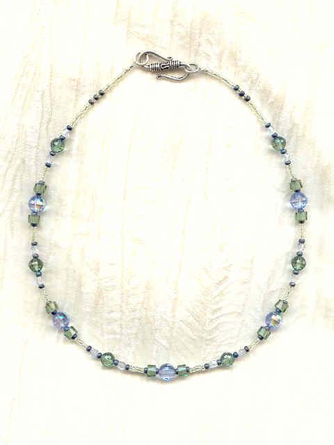 677f9f32e Name: Vintage Swarovski Crystals Lt Blue and Mist Green Handcrafted Necklace