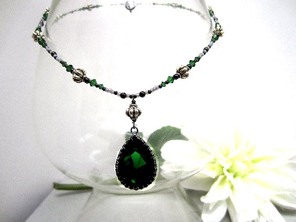 Dark Moss Green Swarovski Crystal Teardrop Pendant Beaded