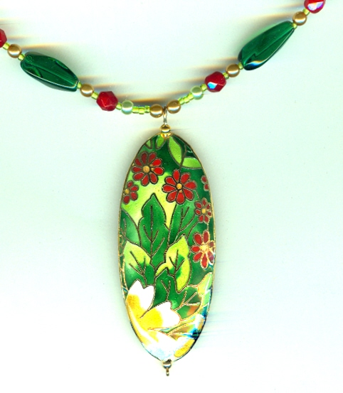 Fashion jewelry set deep red and green cloisonne pendants for Red black and green jewelry