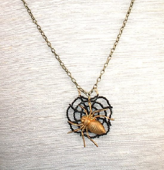 Spider in web pendant necklace halloween jewelry name spider in web pendant necklace halloween jewelry aloadofball Image collections