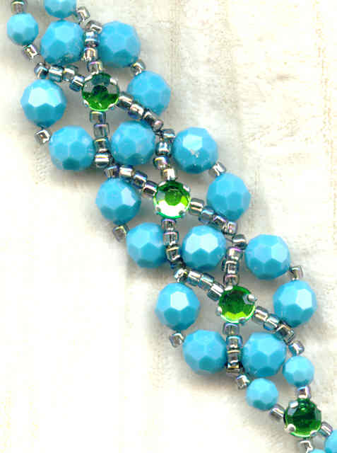 Turquoise Swarovski Crystal And Peridot Hand Beaded Bracelet Loading Zoom