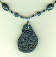 Black Freeform Lava Rock Pendant Man's Necklace