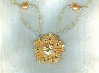 Sunny Orange Floral Focal and Pale Yellow Swarovski Crystal Necklace