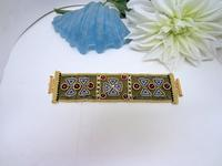 Golden Crown Jewels Bead Woven Cuff Bracelet