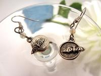 Bat Earrings Flying to the Moon Pewter Charms