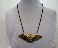 Golden Bat Hand Beaded Halloween Necklace