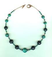 Zen-Inspired Malachite and Jet Carved Bead Necklace