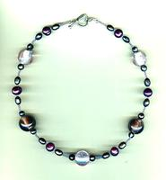 Pink and Purple Dichroic Glass, Freshwater Pearl Bead Necklace