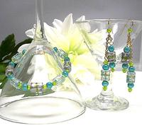 Beaded Bracelet and Earring Set Glowing Aqua Blue and Peridot