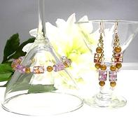 Beaded Bracelet and Earring Set Glowing Goldenrod and Violet Glass Beads