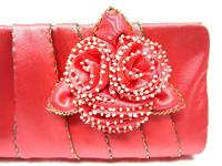 Coral Satin Clutch Bag with Ivory Hand Beaded Flowers