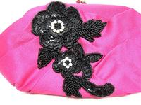 Fuchsia Satin Clutch with Black Floral Bead and Sequin Appliqué